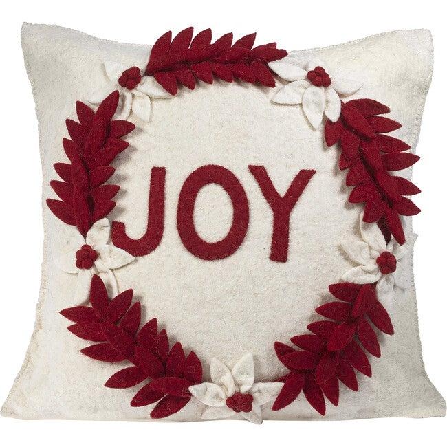 Joy Wreath Pillow Cover, Cream