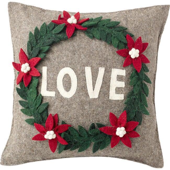 Love Wreath Pillow Cover, Grey
