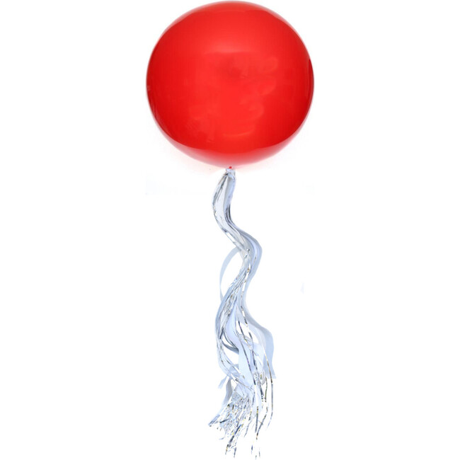 Solid Jumbo Balloon with Silver Streamer Tassel Kit, Red