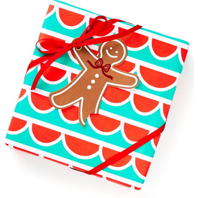 Scallop Green and Red Wrapping Paper