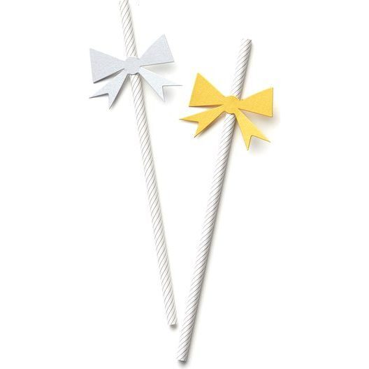 Holiday Bow Straws, Silver and Gold