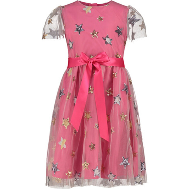 Embroidered Star Dress, Bright Pink