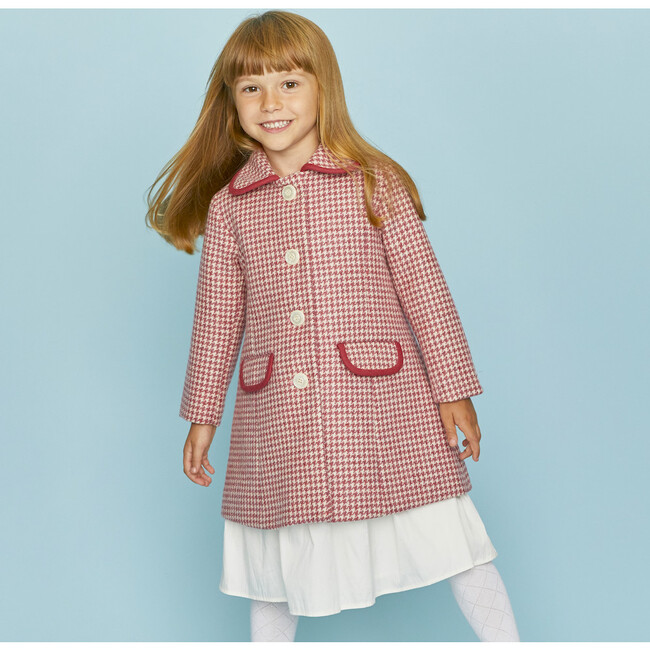 Chelsea Houndstooth Coat, Pink & White