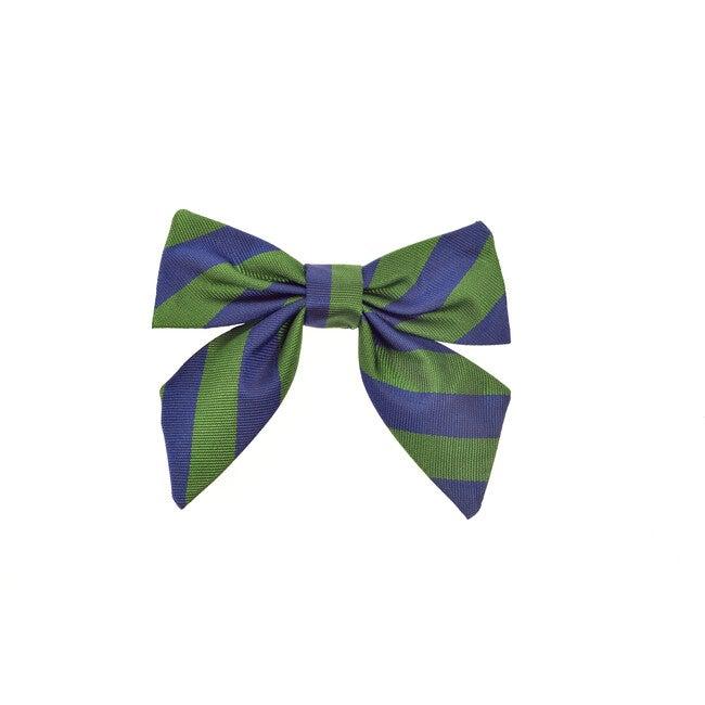 St Clement's Neck Bow, Blue & Green Varsity Stripes