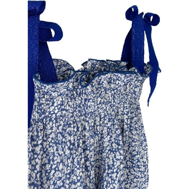 Jaime Dress, Blue and White Floral