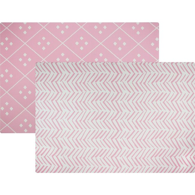 Reversible Dash & Diamond Foam Playmat, Pink