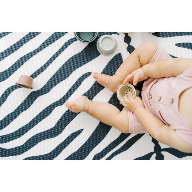 Reversible Zebra & Stripe Foam Playmat, Navy