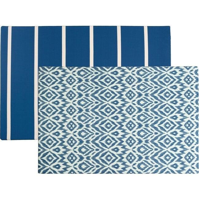 Reversible Ikat & Stripe Foam Playmat, Navy