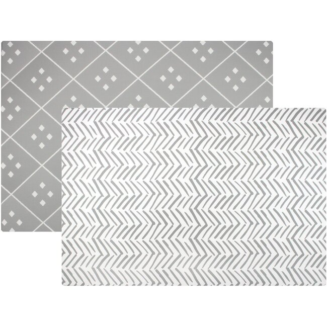 Reversible Dash & Diamond Foam Playmat, Grey