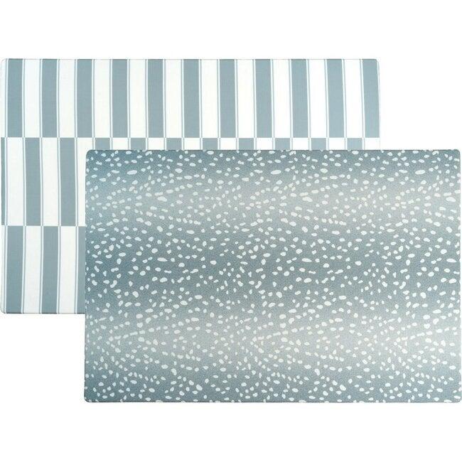 Reversible Antelope & Stripe Foam Playmat, Blue