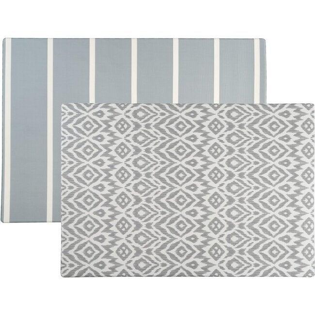 Reversible Ikat & Stripe Foam Playmat, Grey