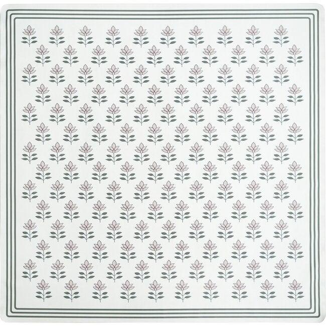 Block Print Petals Vegan Leather Playmat, Pink