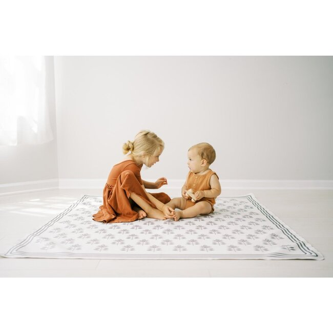 Block Print Petals Vegan Leather Playmat, Grey