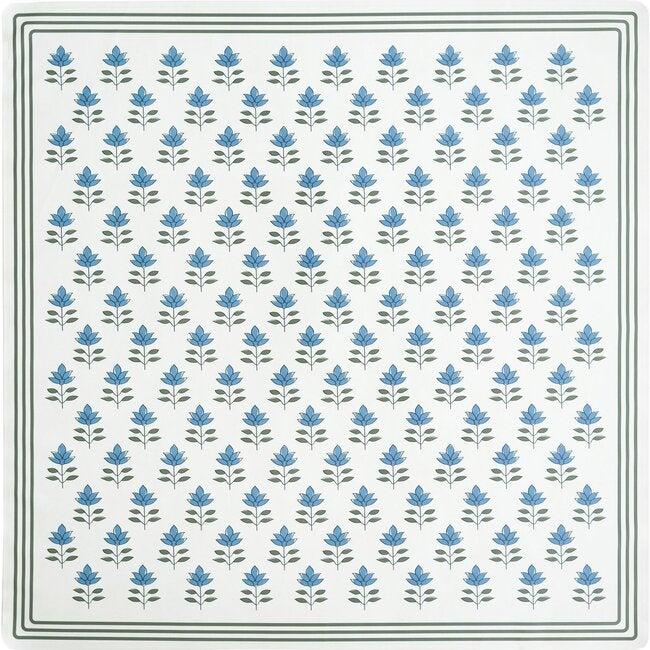 Block Print Petals Vegan Leather Playmat, Blue