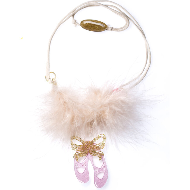 Ballet Slippers Necklace, Satin Pink