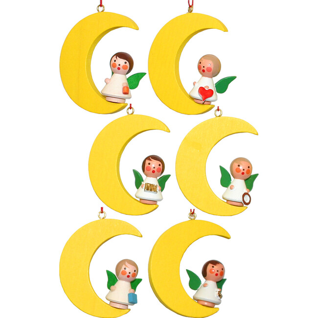 Set of 6 Angels on Moon Ornaments