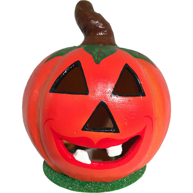 Paper Mache Candy Container, Pumpkin with Leaves