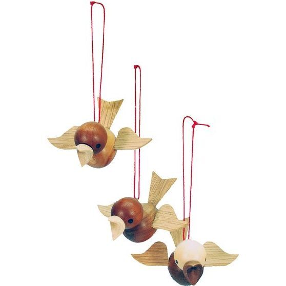 Set of 3 Wooden Birds on String Ornaments, Natural