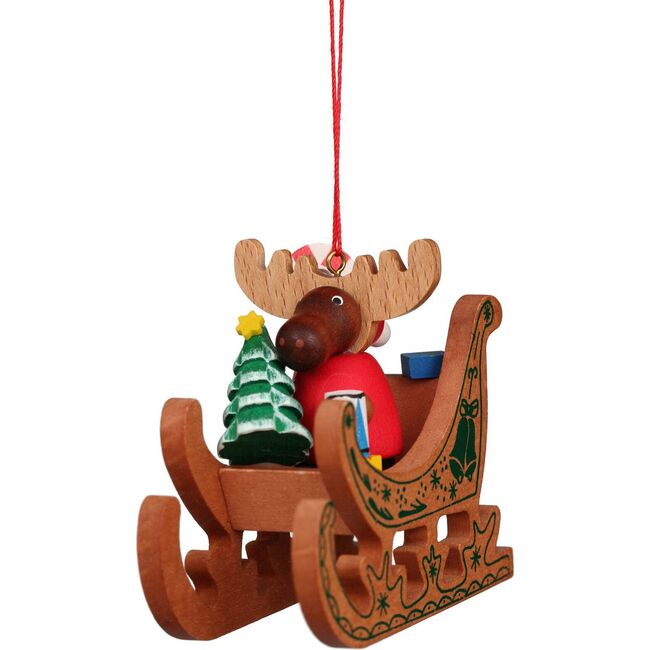 Moose in Sled Ornament