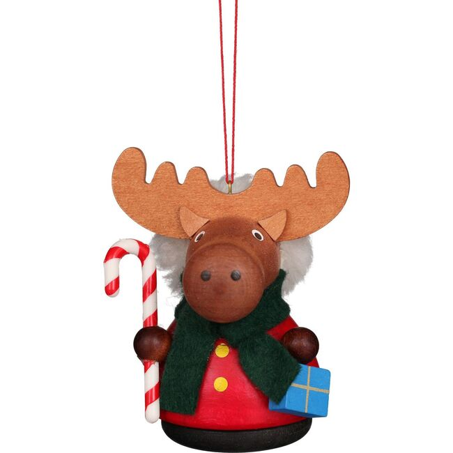 Moose with Candycane Ornament