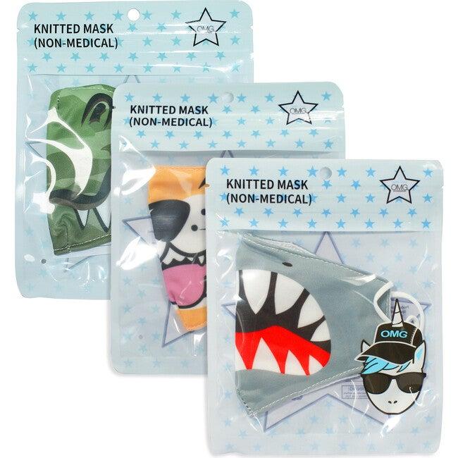 Blue Shark Attack, Scary, Tiger Face Printed Face Mask Bundle Set