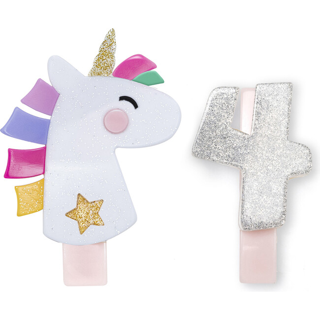 Unicorn Party Number 4 Alligator Clips, White Glitter and Silver