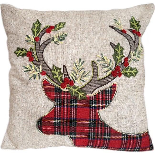 Tartan Reindeer Pillow Cover