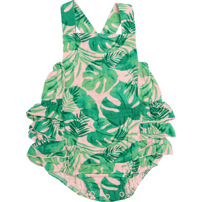Tropical Leaves, Pink Ruffle Sunsuit, Pink - Rompers - 1
