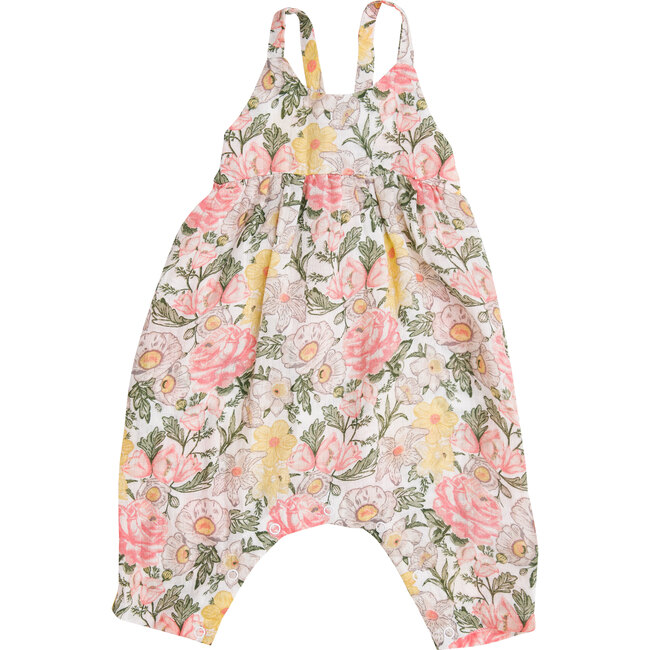 Traditional Floral Tie Back Romper, Multi