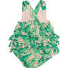 Tropical Leaves, Pink Ruffle Sunsuit, Pink - Rompers - 2