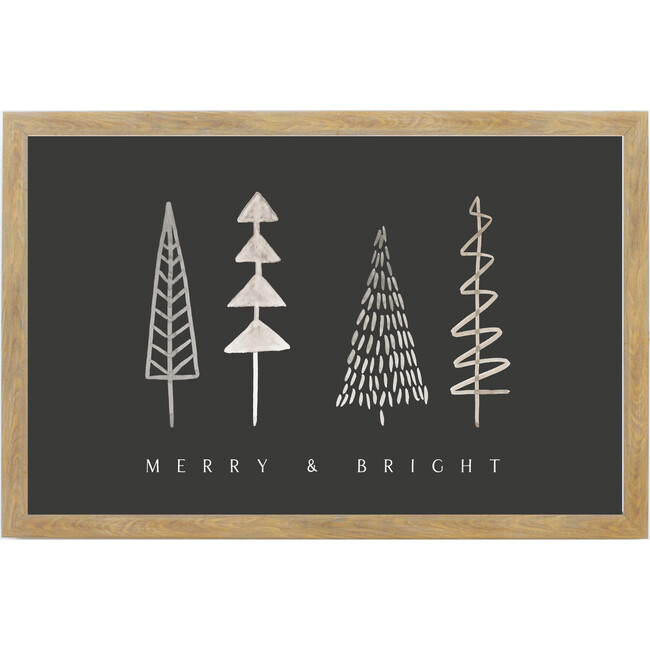 Merry & Bright Trees Sign, Farmhouse Brown Frame