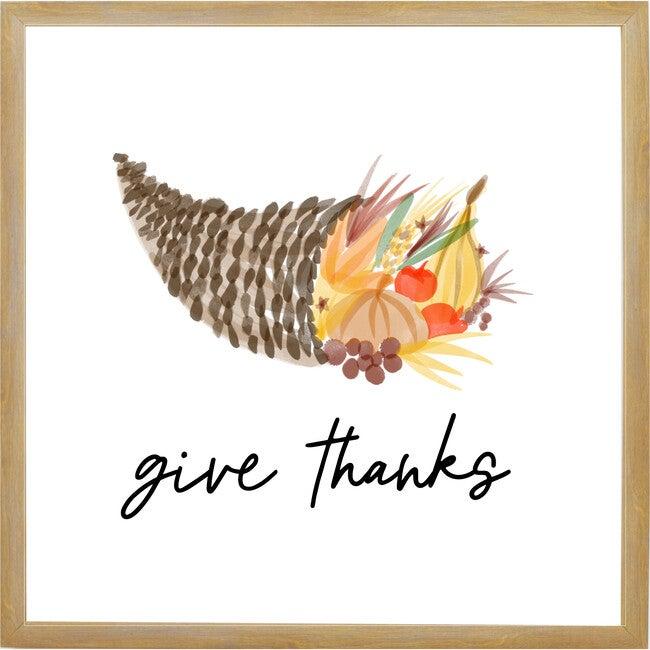Give Thanks Cornucopia Sign, Farmhouse Brown Frame