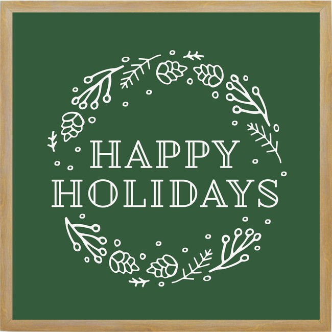 Happy Holidays Sign, Farmhouse Brown Frame