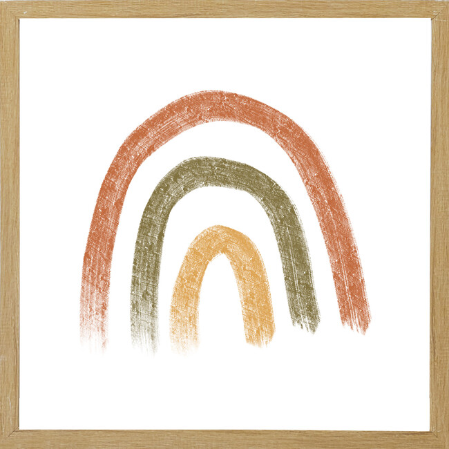 Tri-Color Rainbow Wall Art, Farmhouse Brown Frame