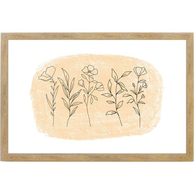 Fall Flower Gathering Wall Art, Farmhouse Brown Frame