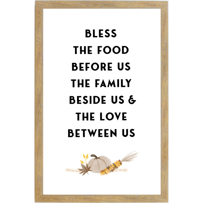 Bless the Food Sign, Farmhouse Brown Frame