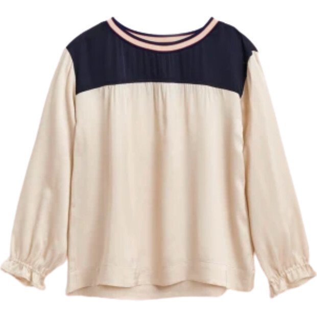 Astrid Blouse, Navy and Ecru