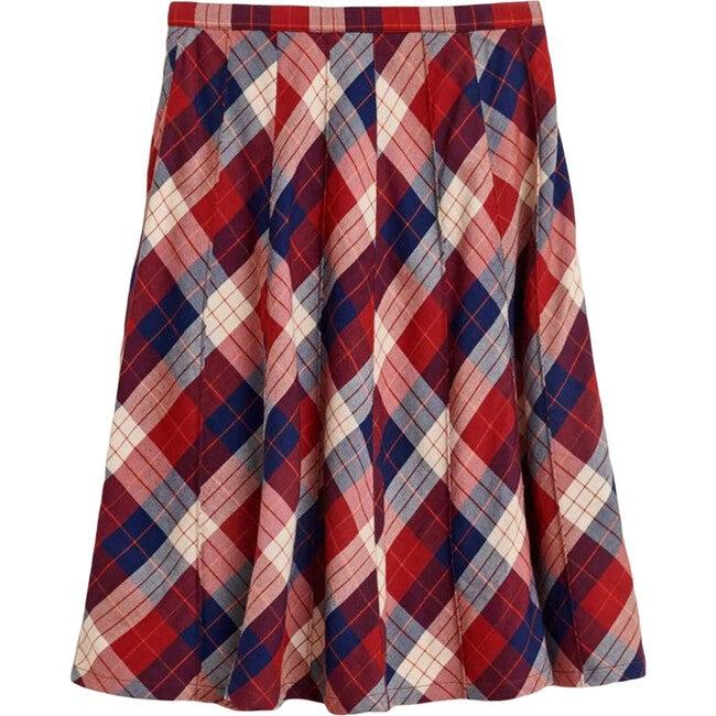 Ines Plaid Skirt, Red