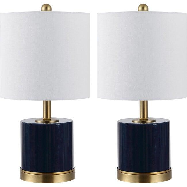 Set of 2 Jayce Glass Table Lamps, Navy - Lighting - 1