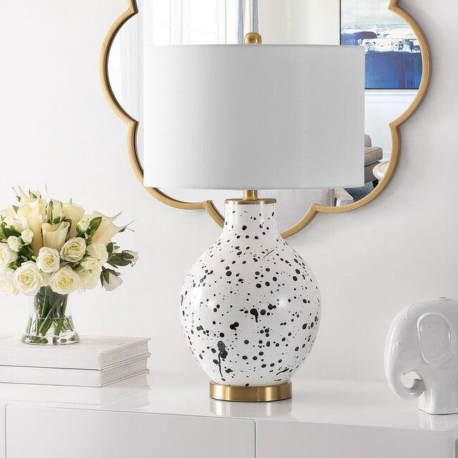 Krew Glass Table Lamp, White/Blue
