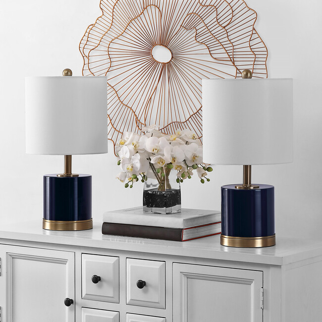 Set of 2 Jayce Glass Table Lamps, Navy
