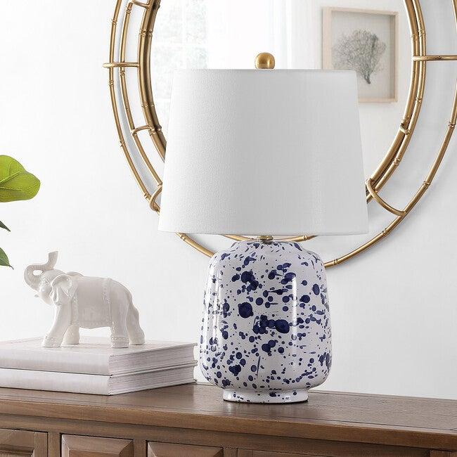Greyon Ceramic Table Lamp, White/Blue