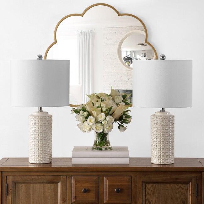 Set of 2 Artef Ceramic Table Lamps, Cream
