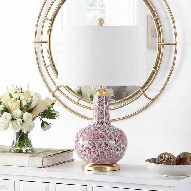 Leia Ceramic Table Lamp, Red/White