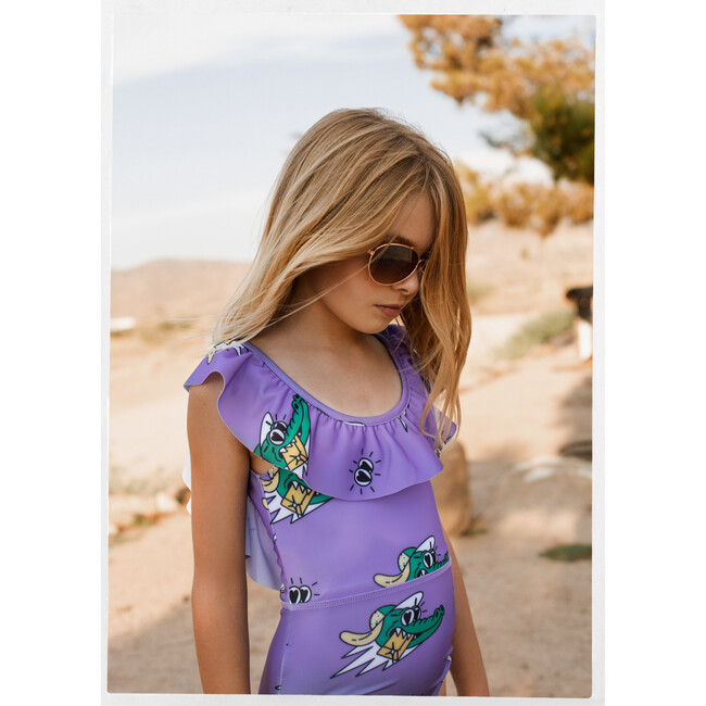 Puff Collar Swimsuit Golden Gator Purple