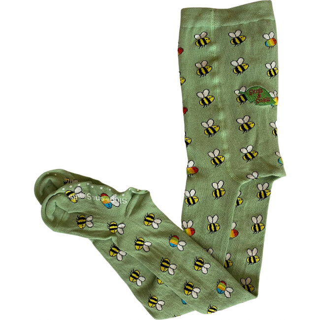Rainbow Bees Footed Tights, Light Green - Tights - 1