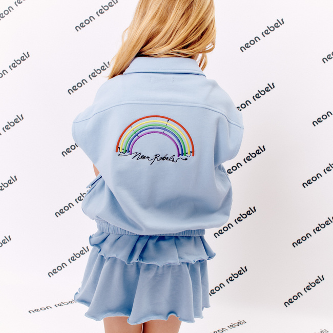 Kelly Sweatshirt Vest, Xenon Blue With Rainbow Embroidery