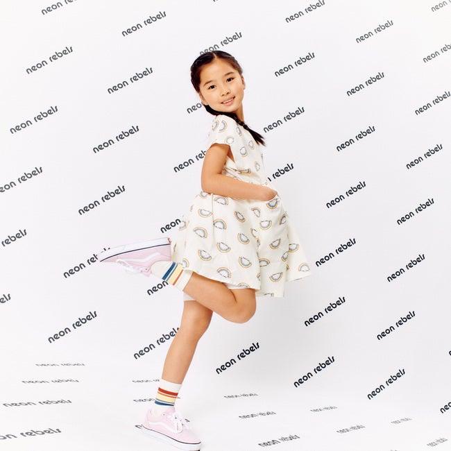 Zadie Skater Poplin Dress, Marshmallow Rainbow