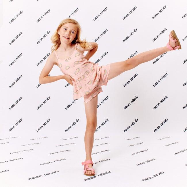 Tina Viscose Short, Pink Salt Rainbow