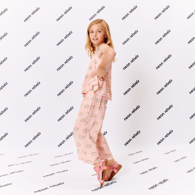 Bowie Viscose Pant, Pink Salt Rainbow